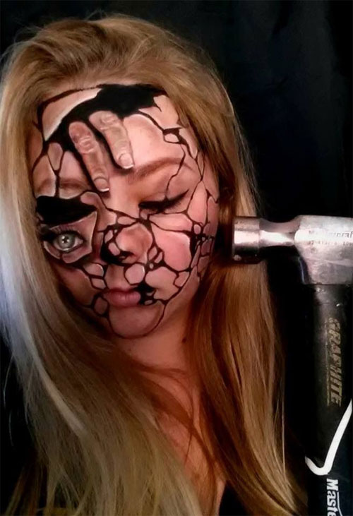 25 scary horror face makeup ideas looks - Scary Faces For Halloween With Makeup