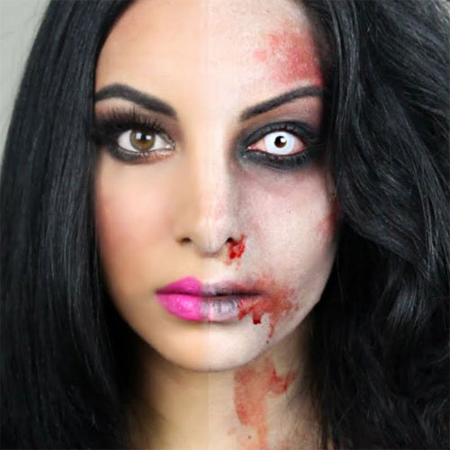 Half Face Halloween Makeup 25 scary u0026 horror halloween face make up ...